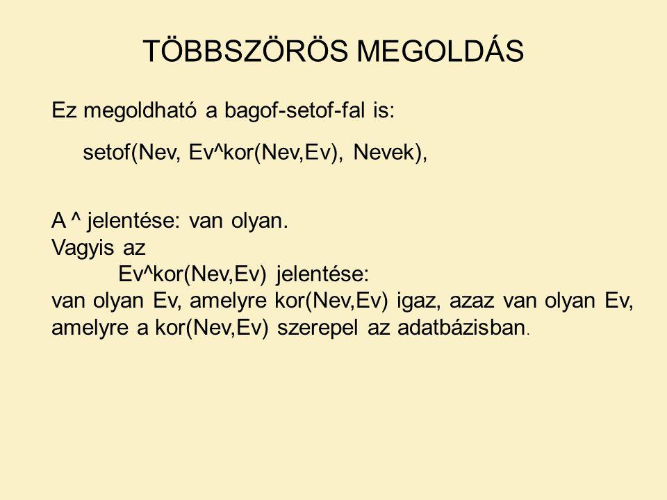 TÖBBSZÖRÖS MEGOLDÁS Ez megoldható a bagof-setof-fal is: setof(Nev, Ev^kor(Nev,Ev), Nevek), A ^ jelentése: van olyan.