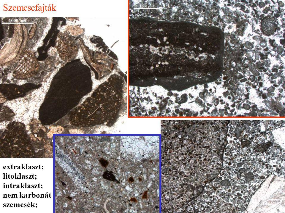 Szemcsefajták extraklaszt; litoklaszt; intraklaszt; nem karbonát szemcsék;