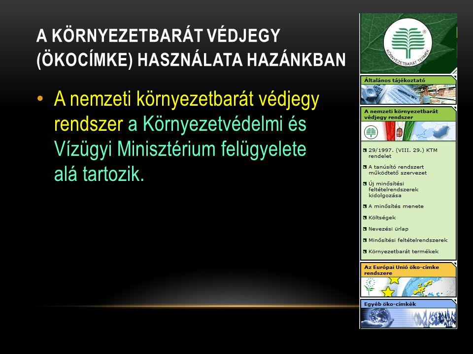 A KÖRNYEZETBARÁT VÉDJEGY (ÖKOCÍMKE) HASZNÁLATA HAZÁNKBAN A nemzeti környezetbarát védjegy rendszer a Környezetvédelmi és Vízügyi Minisztérium felügyel