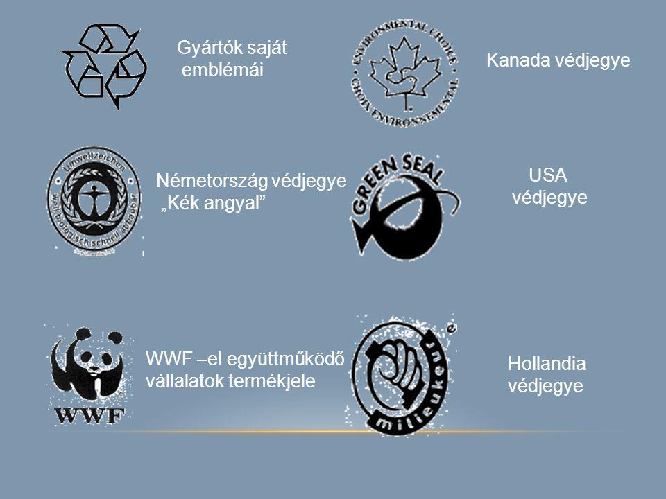 """Gyártók saját emblémái Kanada védjegye USA védjegye Németország védjegye """"Kék angyal"""" Hollandia védjegye WWF –el együttműködő vállalatok termékjele"""