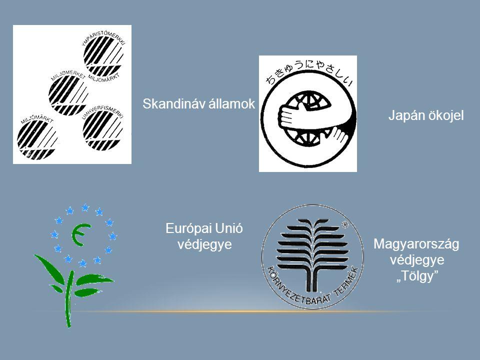 """Skandináv államok Japán ökojel Európai Unió védjegye Magyarország védjegye """"Tölgy"""""""