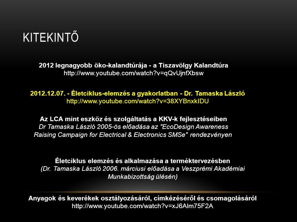 KITEKINTŐ 2012 legnagyobb öko-kalandtúrája - a Tiszavölgy Kalandtúra http://www.youtube.com/watch?v=qQvUjnfXbsw 2012.12.07. - Életciklus-elemzés a gya