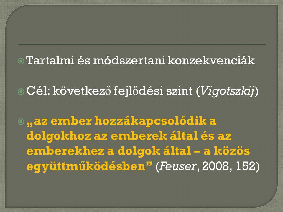 """ Tartalmi és módszertani konzekvenciák  Cél: következ ő fejl ő dési szint (Vigotszkij)  """"az ember hozzákapcsolódik a dolgokhoz az emberek által és az emberekhez a dolgok által – a közös együttm ű ködésben (Feuser, 2008, 152)"""