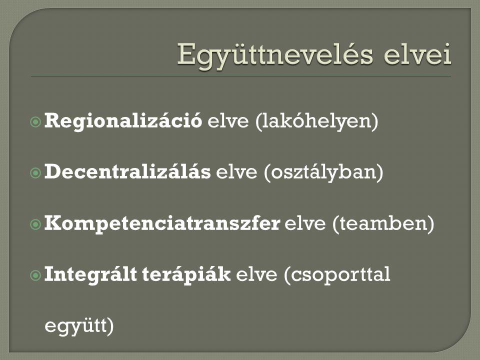  Regionalizáció elve (lakóhelyen)  Decentralizálás elve (osztályban)  Kompetenciatranszfer elve (teamben)  Integrált terápiák elve (csoporttal együtt)