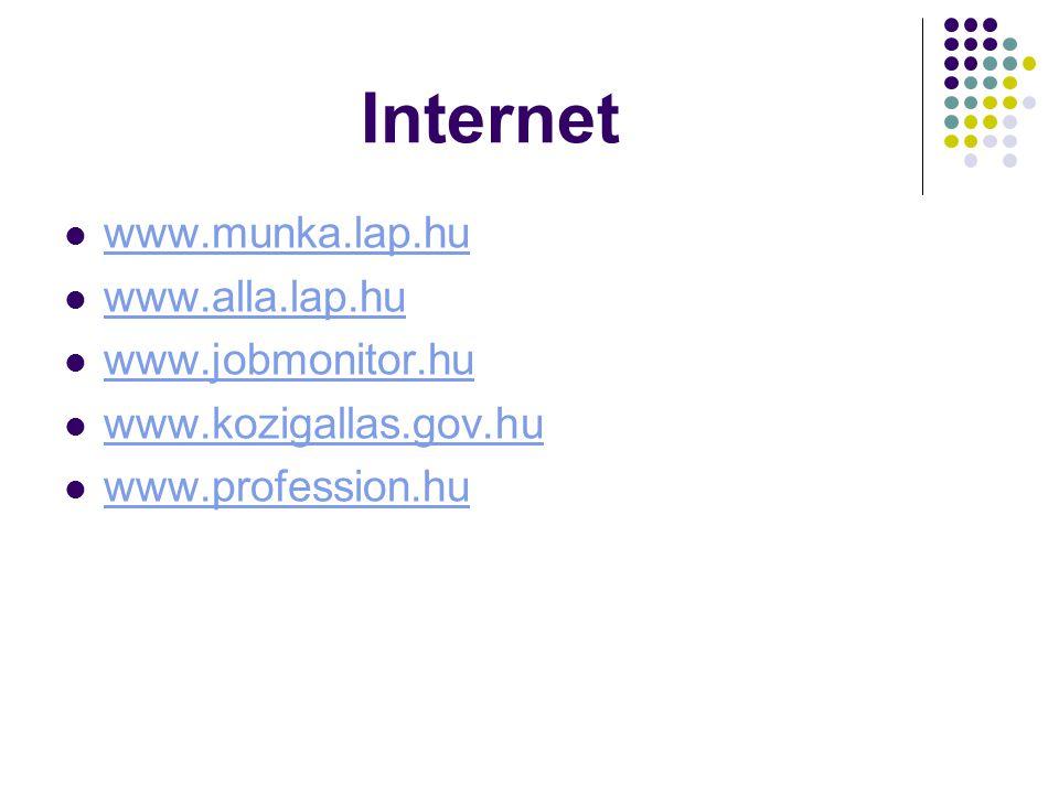 Internet www.munka.lap.hu www.alla.lap.hu www.jobmonitor.hu www.kozigallas.gov.hu www.profession.hu