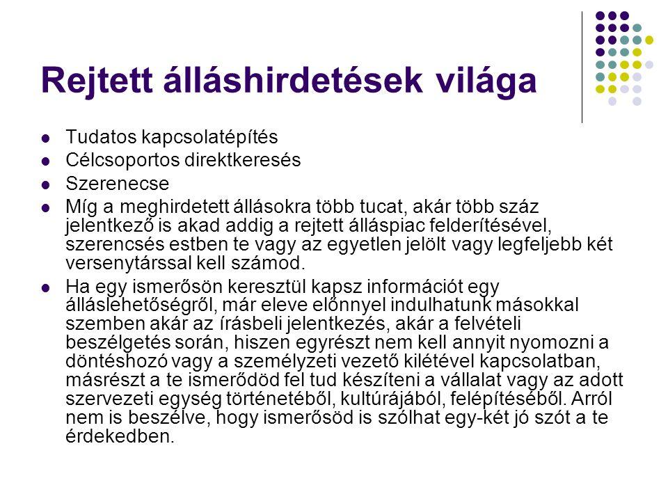 Rejtett álláshirdetések világa Tudatos kapcsolatépítés Célcsoportos direktkeresés Szerenecse Míg a meghirdetett állásokra több tucat, akár több száz j