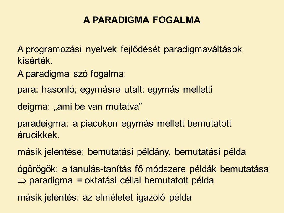 A PARADIGMA FOGALMA A programozási nyelvek fejlődését paradigmaváltások kísérték.