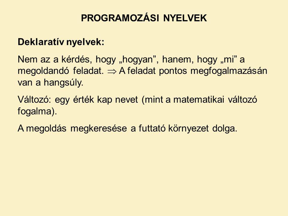 """Deklaratív nyelvek: Nem az a kérdés, hogy """"hogyan , hanem, hogy """"mi a megoldandó feladat."""