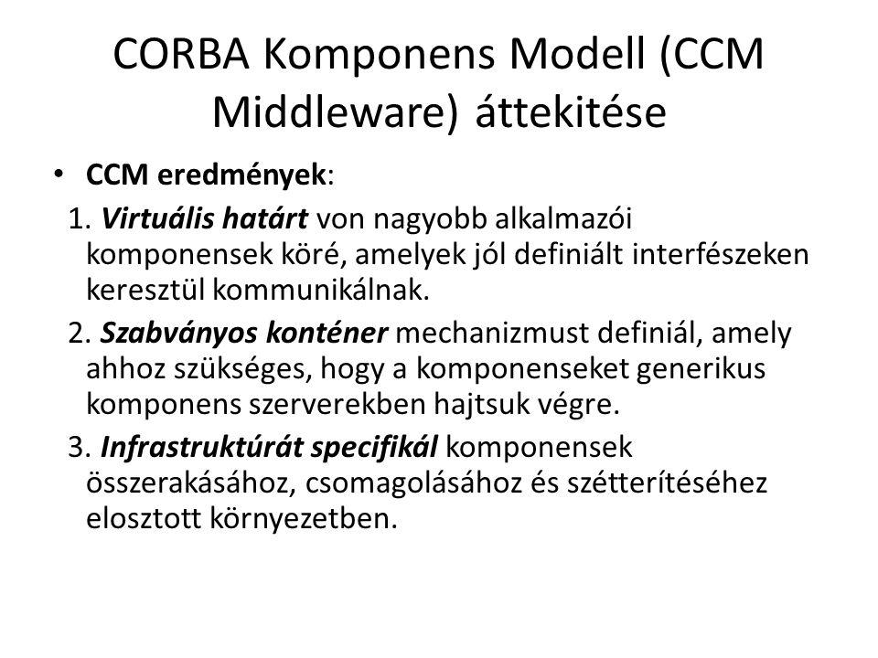 CORBA Komponens Modell (CCM Middleware) áttekitése CCM eredmények: 1. Virtuális határt von nagyobb alkalmazói komponensek köré, amelyek jól definiált