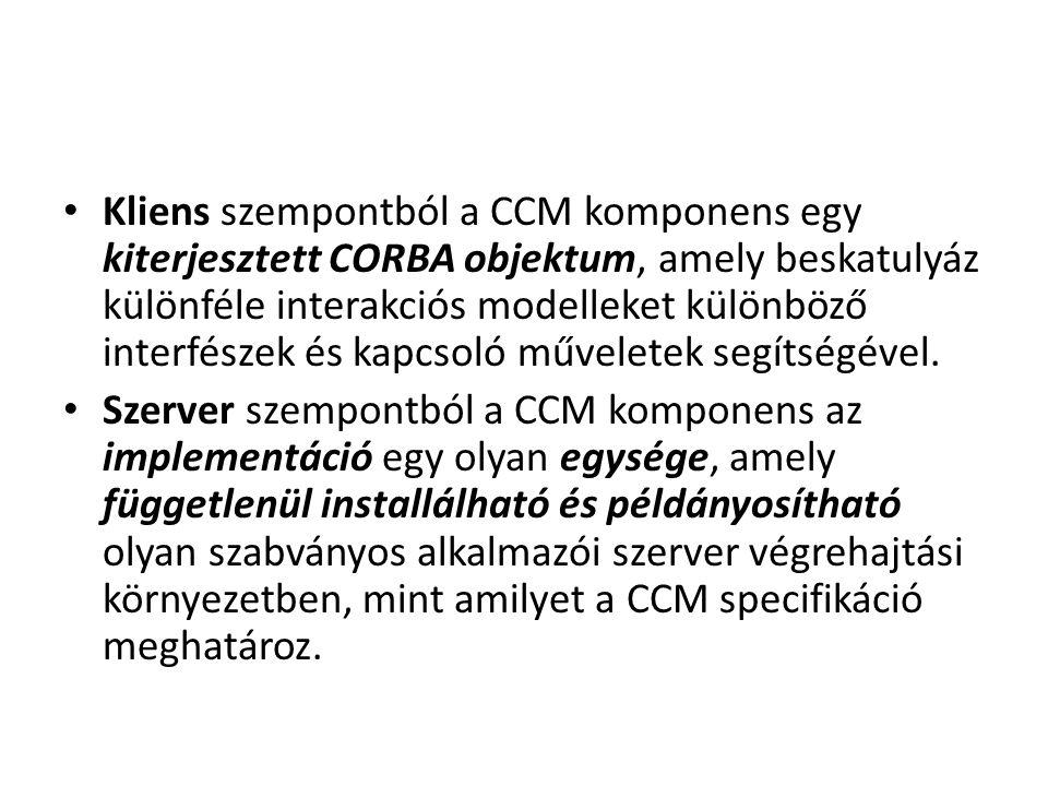 Kliens szempontból a CCM komponens egy kiterjesztett CORBA objektum, amely beskatulyáz különféle interakciós modelleket különböző interfészek és kapcs