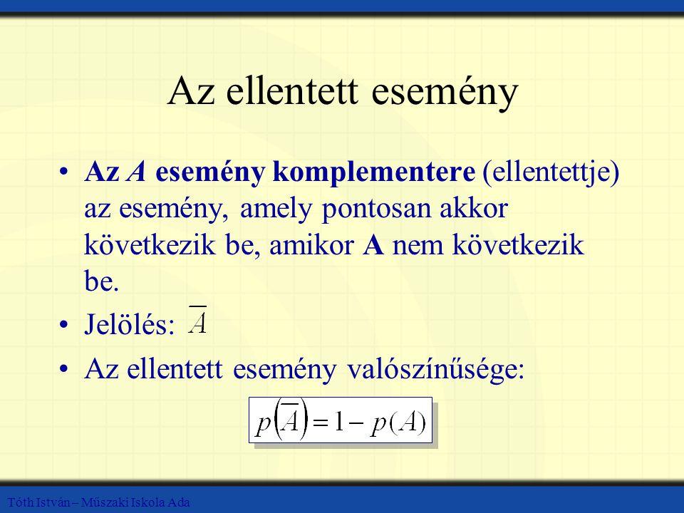 Az ellentett esemény Az A esemény komplementere (ellentettje) az esemény, amely pontosan akkor következik be, amikor A nem következik be. Jelölés: Az