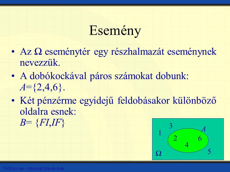 Tóth István – Műszaki Iskola Ada Esemény Az Ω eseménytér egy részhalmazát eseménynek nevezzük. A dobókockával páros számokat dobunk: A={2,4,6}. Két pé