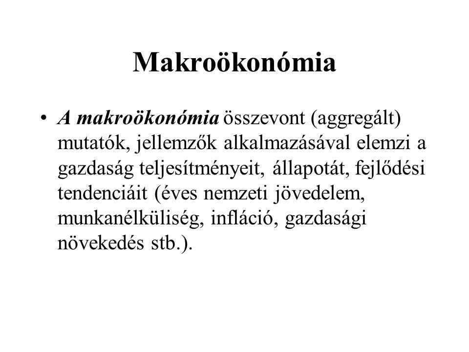 Mikroökonómia A mikroökonómia az egymástól elkülönült piaci szereplőket (fogyasztók, háztartások, vállalatok) illetve azok döntéseit, általánosítható