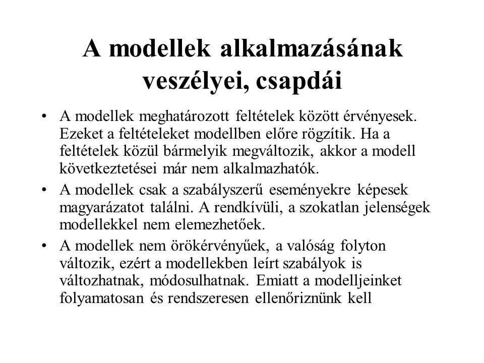 A modellek alkalmazásának előnyei (folytatás) c)A modellek segítségével olyan kapcsolatokat is feltárhatunk, amelyeket csak nehezen tudunk követni. A
