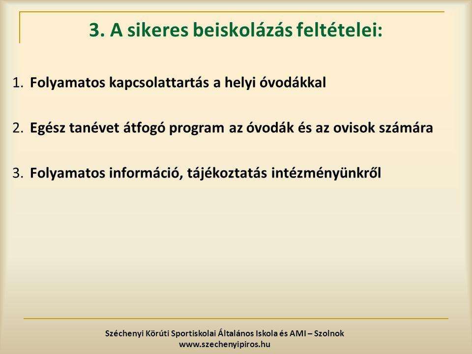 3. A sikeres beiskolázás feltételei: 1.Folyamatos kapcsolattartás a helyi óvodákkal 2.Egész tanévet átfogó program az óvodák és az ovisok számára 3.Fo