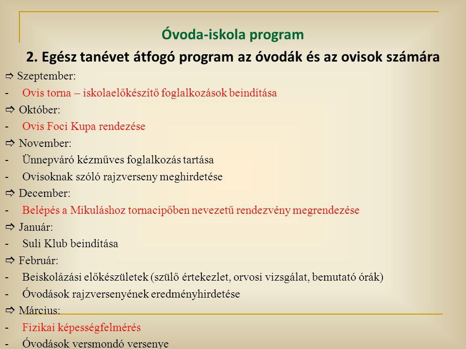 Óvoda-iskola program 2. Egész tanévet átfogó program az óvodák és az ovisok számára  Szeptember: -Ovis torna – iskolaelőkészítő foglalkozások beindít