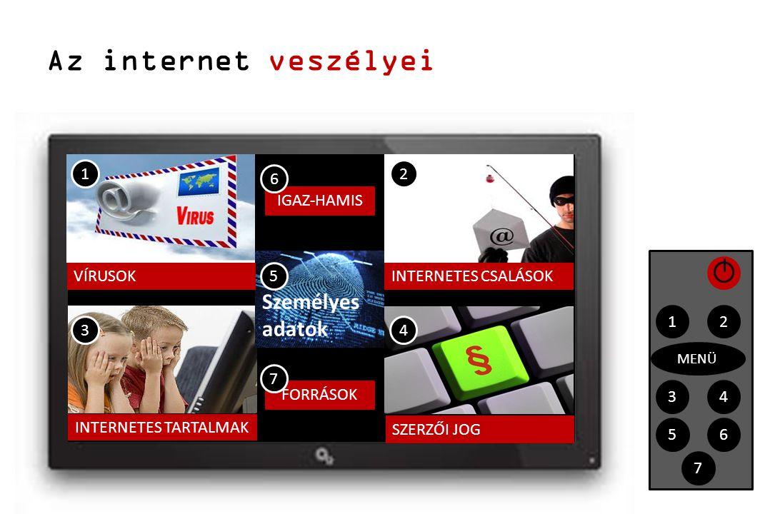 Az internet veszélyei 12 4 IGAZ-HAMIS 3 1 43 2 MENÜ 56 7 5 FORRÁSOK 6 7 VÍRUSOK Személyes adatok INTERNETES TARTALMAK INTERNETES CSALÁSOK SZERZŐI JOG