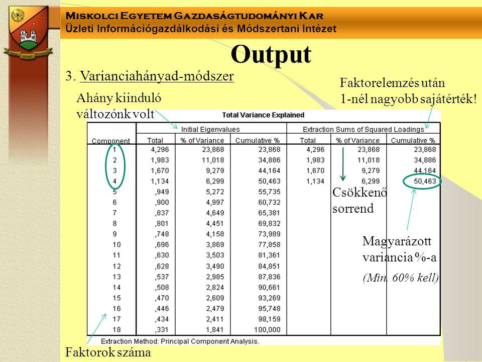 Miskolci Egyetem Gazdaságtudományi Kar Üzleti Információgazdálkodási és Módszertani Intézet Output Faktorok száma Ahány kiinduló változónk volt Csökke