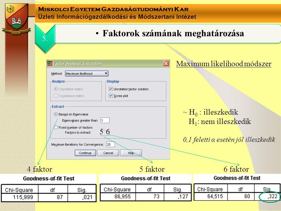 Miskolci Egyetem Gazdaságtudományi Kar Üzleti Információgazdálkodási és Módszertani Intézet 5. Faktorok számának meghatározása Maximum likelihood móds