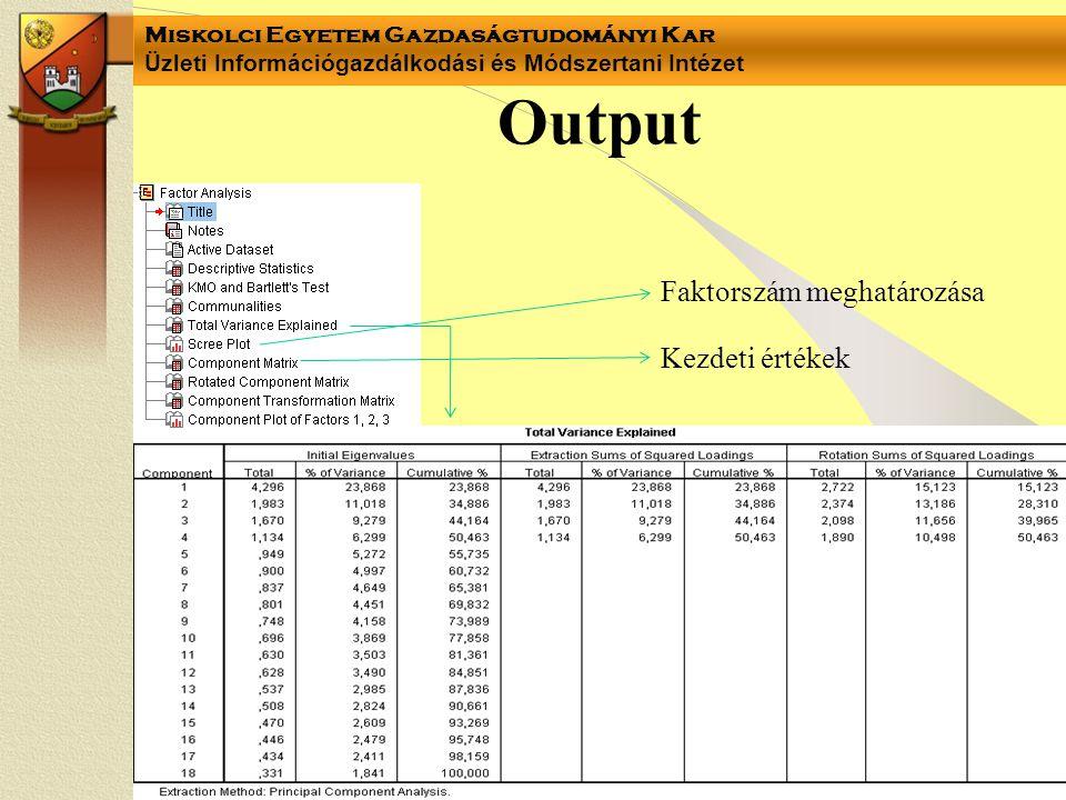 Miskolci Egyetem Gazdaságtudományi Kar Üzleti Információgazdálkodási és Módszertani Intézet Output Faktorszám meghatározása Kezdeti értékek