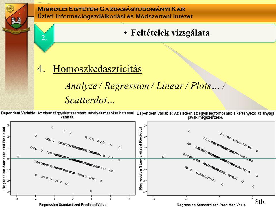 Miskolci Egyetem Gazdaságtudományi Kar Üzleti Információgazdálkodási és Módszertani Intézet 4.Homoszkedaszticitás Analyze / Regression / Linear / Plot