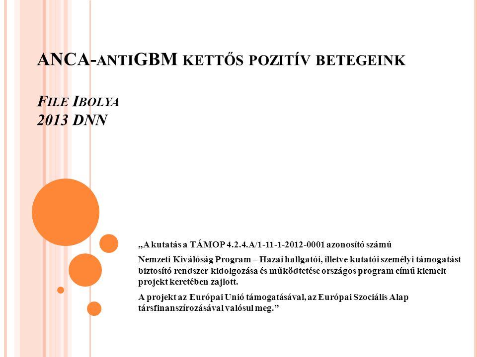 """ANCA- ANTI GBM KETTŐS POZITÍV BETEGEINK F ILE I BOLYA 2013 DNN """"A kutatás a TÁMOP 4.2.4.A/1-11-1-2012-0001 azonosító számú Nemzeti Kiválóság Program – Hazai hallgatói, illetve kutatói személyi támogatást biztosító rendszer kidolgozása és működtetése országos program című kiemelt projekt keretében zajlott."""