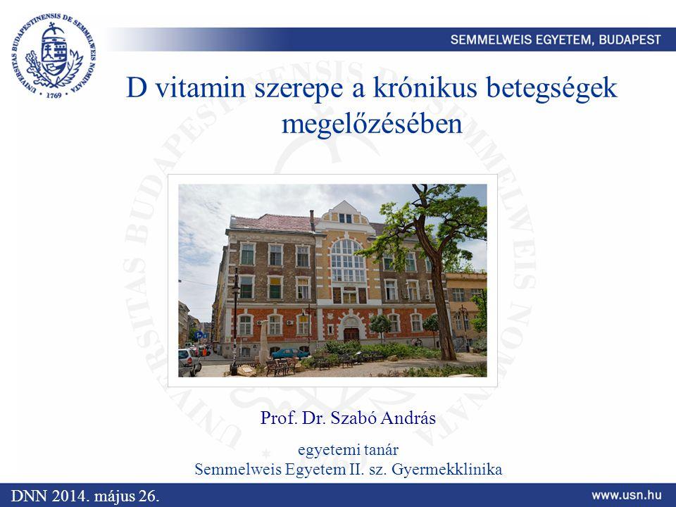 D vitamin szerepe a krónikus betegségek megelőzésében Prof. Dr. Szabó András egyetemi tanár Semmelweis Egyetem II. sz. Gyermekklinika DNN 2014. május