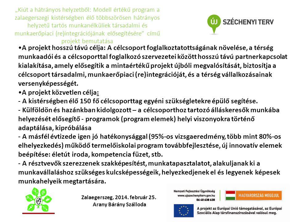 """""""Kiút a hátrányos helyzetből: Modell értékű program a zalaegerszegi kistérségben élő többszörösen hátrányos helyzetű tartós munkanélküliek társadalmi"""