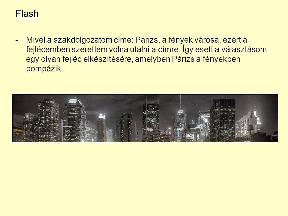 Flash -Mivel a szakdolgozatom címe: Párizs, a fények városa, ezért a fejlécemben szerettem volna utalni a címre.