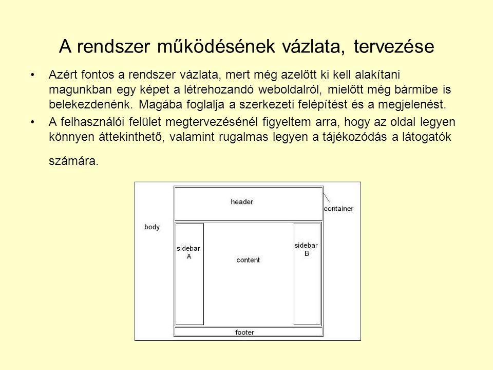 A rendszer működésének vázlata, tervezése Azért fontos a rendszer vázlata, mert még azelőtt ki kell alakítani magunkban egy képet a létrehozandó weboldalról, mielőtt még bármibe is belekezdenénk.
