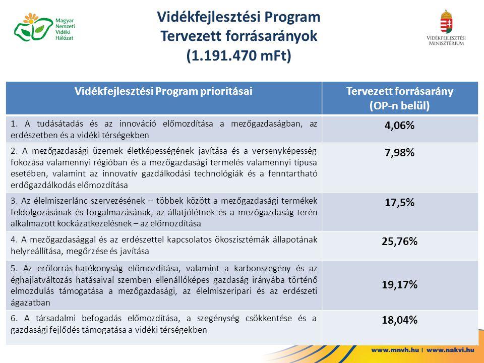 Vidékfejlesztési Program Tervezett forrásarányok (1.191.470 mFt) Vidékfejlesztési Program prioritásaiTervezett forrásarány (OP-n belül) 1. A tudásátad