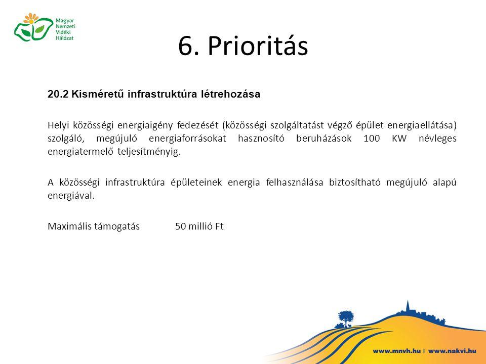 6. Prioritás 20.2 Kisméretű infrastruktúra létrehozása Helyi közösségi energiaigény fedezését (közösségi szolgáltatást végző épület energiaellátása) s