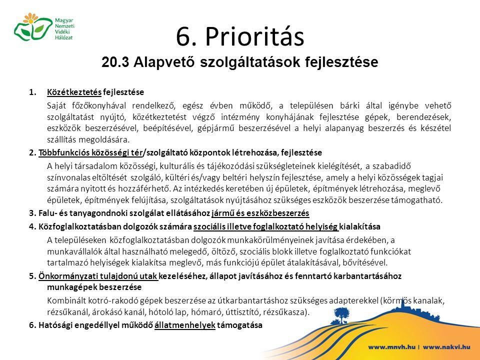 6. Prioritás 20.3 Alapvető szolgáltatások fejlesztése 1.Közétkeztetés fejlesztése Saját főzőkonyhával rendelkező, egész évben működő, a településen bá