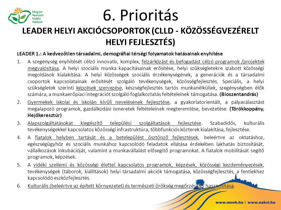 6. Prioritás LEADER HELYI AKCIÓCSOPORTOK (CLLD - KÖZÖSSÉGVEZÉRELT HELYI FEJLESZTÉS) LEADER 1.: A kedvezőtlen társadalmi, demográfiai térségi folyamato