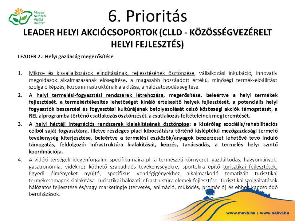 6. Prioritás LEADER HELYI AKCIÓCSOPORTOK (CLLD - KÖZÖSSÉGVEZÉRELT HELYI FEJLESZTÉS) LEADER 2.: Helyi gazdaság megerősítése 1.Mikro- és kisvállalkozáso