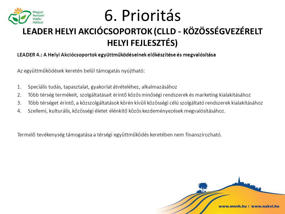 6. Prioritás LEADER HELYI AKCIÓCSOPORTOK (CLLD - KÖZÖSSÉGVEZÉRELT HELYI FEJLESZTÉS) LEADER 4.: A Helyi Akciócsoportok együttműködéseinek előkészítése