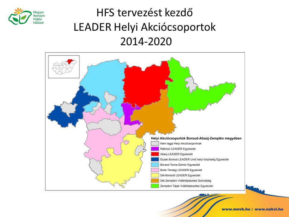 HFS tervezést kezdő LEADER Helyi Akciócsoportok 2014-2020