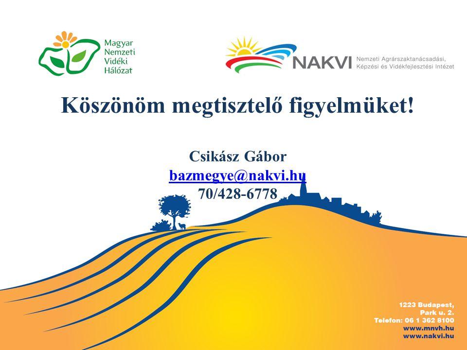 Köszönöm megtisztelő figyelmüket! Csikász Gábor bazmegye@nakvi.hu 70/428-6778 bazmegye@nakvi.hu