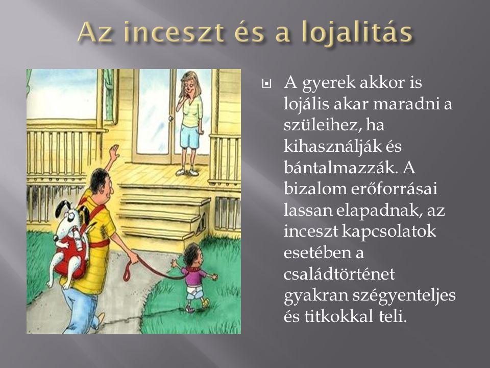  A gyerek akkor is lojális akar maradni a szüleihez, ha kihasználják és bántalmazzák. A bizalom erőforrásai lassan elapadnak, az inceszt kapcsolatok