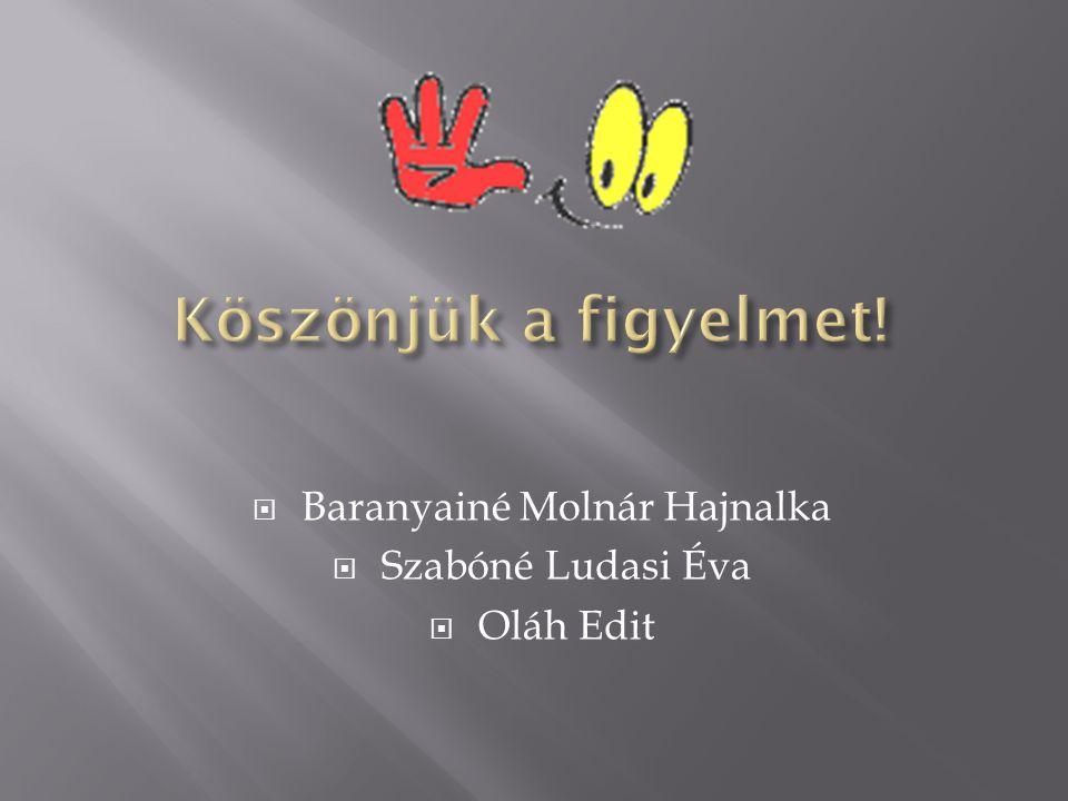  Baranyainé Molnár Hajnalka  Szabóné Ludasi Éva  Oláh Edit