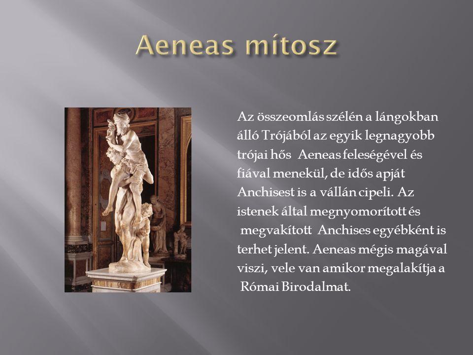 Az összeomlás szélén a lángokban álló Trójából az egyik legnagyobb trójai hős Aeneas feleségével és fiával menekül, de idős apját Anchisest is a vállá