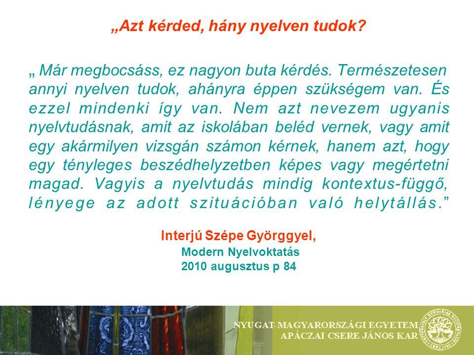 3.2.) Inter-, és multikulturális kitekintés: két-, és többnyelvű programok, tudatos nyelvhasználat -Nyelvek Európai Napja - Nyitott ajtók hete (2008-tól hallgatói ppt-k több nyelven és témára) -Kétnyelvű szeminárium: Lehren und Lernen an der Grenze/ Tanulás és tanítás a határ mentén -Idegen nyelvű előadások Japánról, Kubáról, Afrikáról: modell az előadó nyelvi kompetenciája Tehetséggondozó programok : Ifjú kutatók műhelye, TDK dolgozatok 3) MODELLÉRTÉKŰ FEJLESZTÉSEK a szituációban helytálló nyelvtudás alakítására
