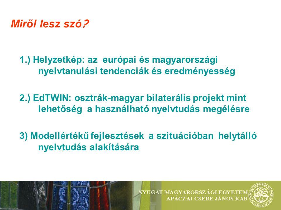 3.3.)Szakma és nyelv-nyelv és szakma: CLIL tartalomalapú nyelvhasználat, partnerkapcsolatok -Tanítók - Városi nyelvi rali, Kutatók éjszakája: nyelvi akadályverseny, -Gyógypedagógusok: 1-1 hetes tanulmányút egymás rendszerének megismerésére -Liszt Jubileum projekt: Burgenlandi PH és iskolák -Multimédia: célnyelvi kultúra – mikro-tanítás Kihelyezett nyelvóra - terepgyakorlat Hotel Famulus, tankonyha, utazási irodák 3) MODELLÉRTÉKŰ FEJLESZTÉSEK a szituációban helytálló nyelvtudás alakítására