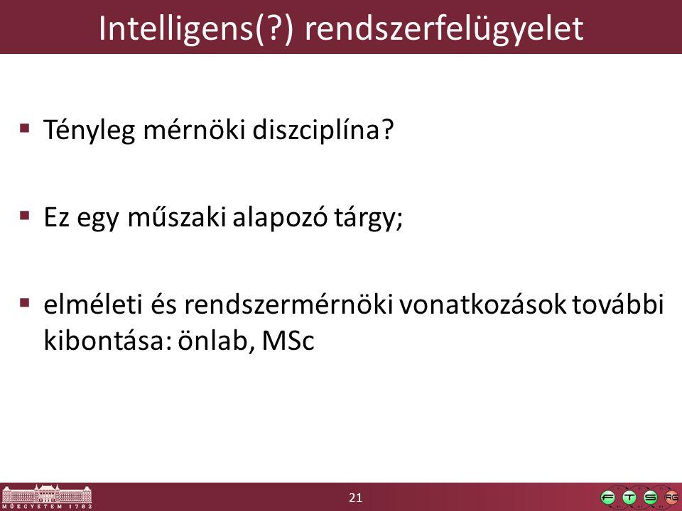 21 Intelligens( ) rendszerfelügyelet  Tényleg mérnöki diszciplína.