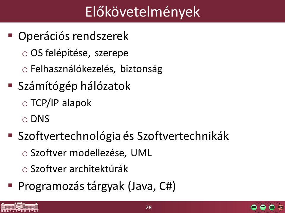 28 Előkövetelmények  Operációs rendszerek o OS felépítése, szerepe o Felhasználókezelés, biztonság  Számítógép hálózatok o TCP/IP alapok o DNS  Szoftvertechnológia és Szoftvertechnikák o Szoftver modellezése, UML o Szoftver architektúrák  Programozás tárgyak (Java, C#)