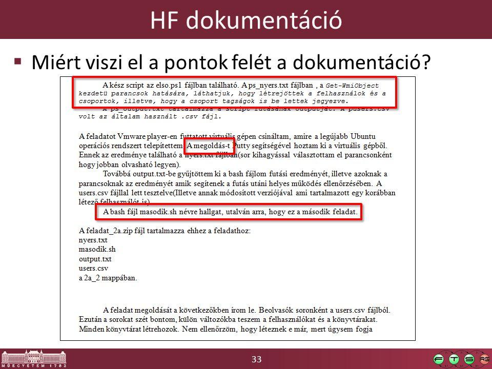 33 HF dokumentáció  Miért viszi el a pontok felét a dokumentáció