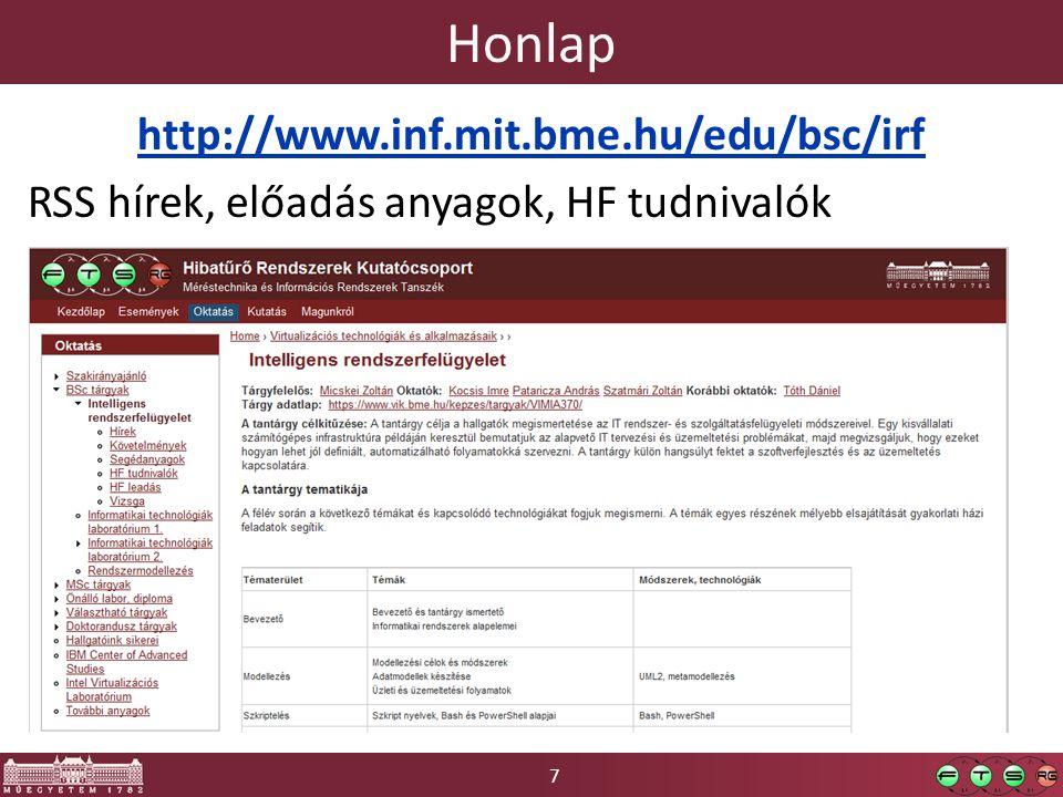 7 Honlap http://www.inf.mit.bme.hu/edu/bsc/irf RSS hírek, előadás anyagok, HF tudnivalók
