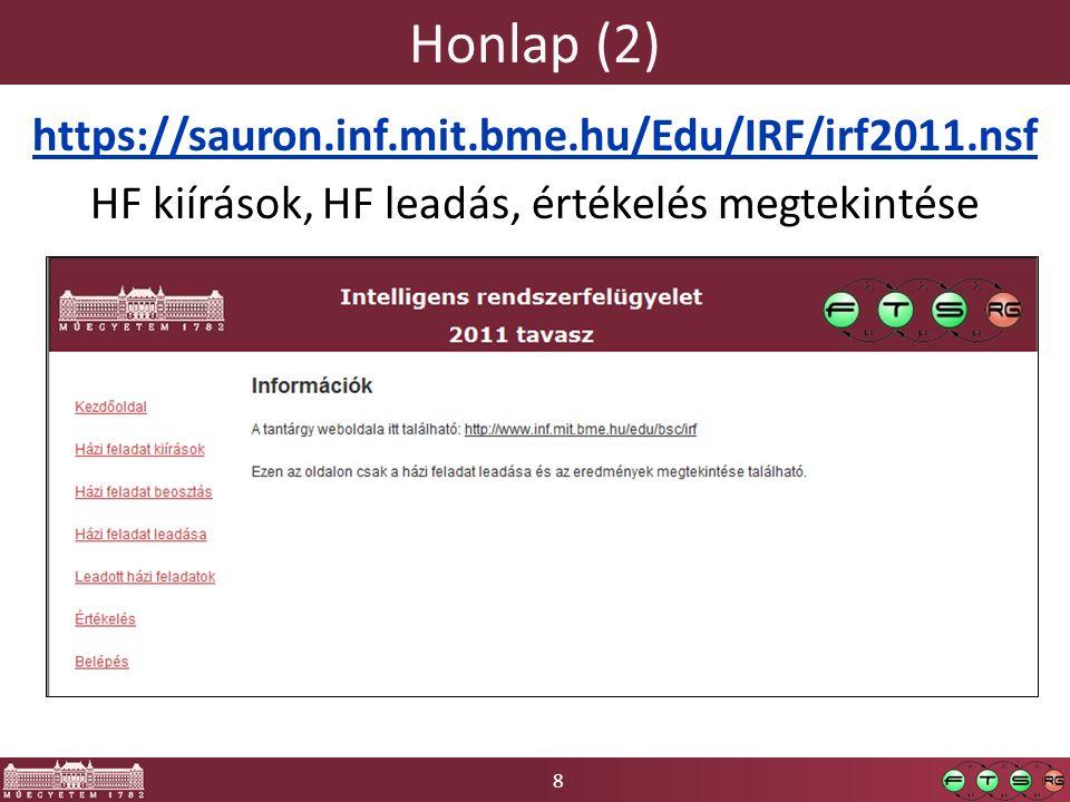 8 Honlap (2) https://sauron.inf.mit.bme.hu/Edu/IRF/irf2011.nsf HF kiírások, HF leadás, értékelés megtekintése