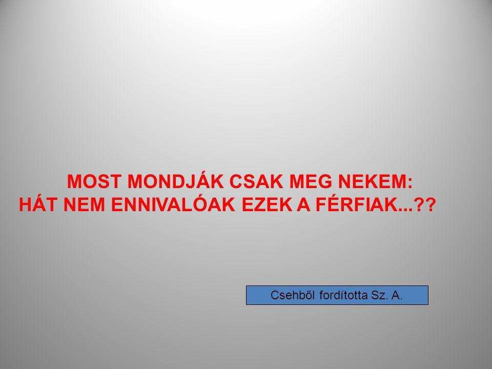 MOST MONDJÁK CSAK MEG NEKEM: HÁT NEM ENNIVALÓAK EZEK A FÉRFIAK...?? Csehből fordította Sz. A.