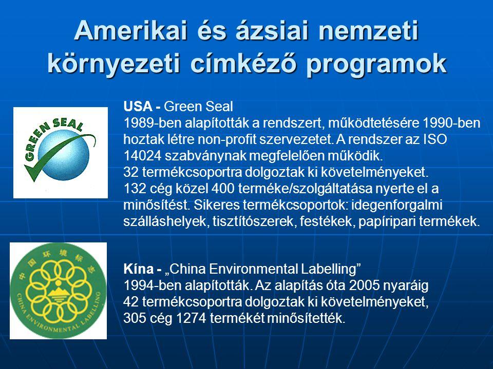 Amerikai és ázsiai nemzeti környezeti címkéző programok USA - Green Seal 1989-ben alapították a rendszert, működtetésére 1990-ben hoztak létre non-pro